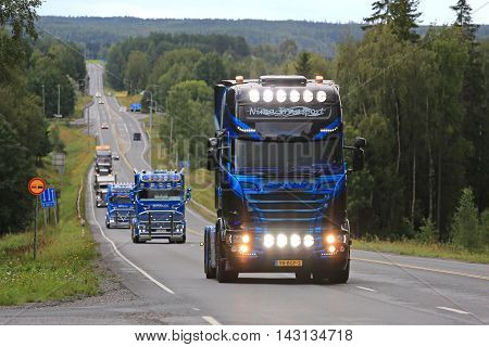 IKAALINEN, FINLAND - AUGUST 11, 2016: Scania 6x2 2016 of Nima Transport Holland takes part in the ca. 420 km long truck convoy from the ports of Helsinki and Naantali to Alaharma to the annual trucking event Power Truck Show 2016 in Alaharma Finland.