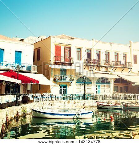 Crete Rethymnon coffee shop boats and sea impressions of Greece