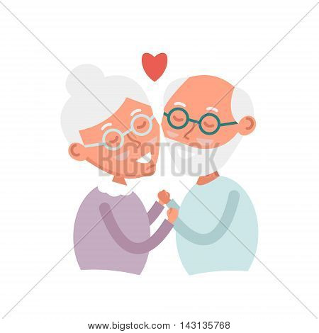 Happy old couple together. Cute Seniors couple in love. grandparents holding hands. Happy grandparents day. Vector Illustration