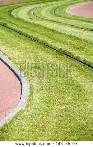 Green grass with sinuous rails in the day