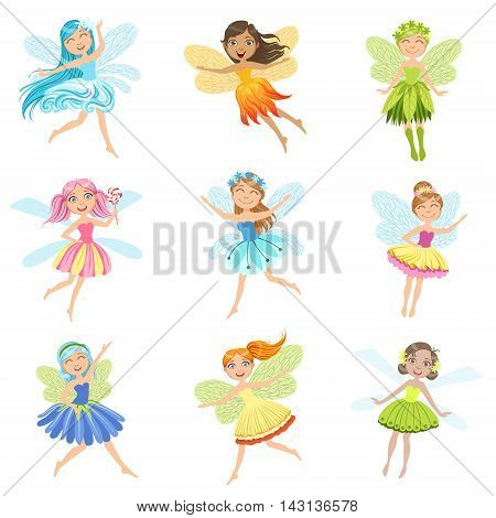 Cute Fairies In Pretty Dresses Girly Cartoon Characters Collection. Childish Design Fairy-tale Creatures Simple Adorable Illustrations.
