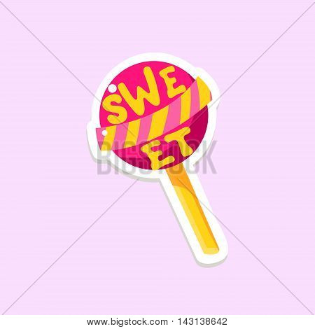 Lollypop Bright Color Summer Inspired Isolated Sticker With Text Simple Cartoon Childish Flat Vector Design