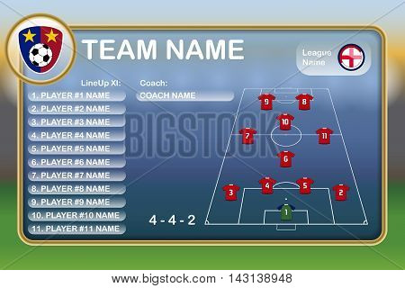 Illustration of a Football Lineup Eleven with Text