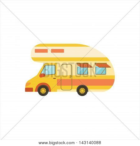 Orange Stripy Travel Van Icon. Family Motorhome Flat Colorful Car. Microbus For Family Vacation Isolated Illustration.