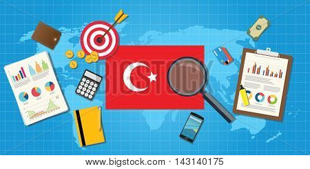 turkey europe economy economic condition country with graph chart and finance tools vector graphic illustration