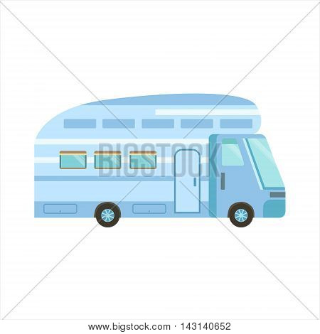 Blue Modern Travel Van Icon. Family Motorhome Flat Colorful Car. Microbus For Family Vacation Isolated Illustration.