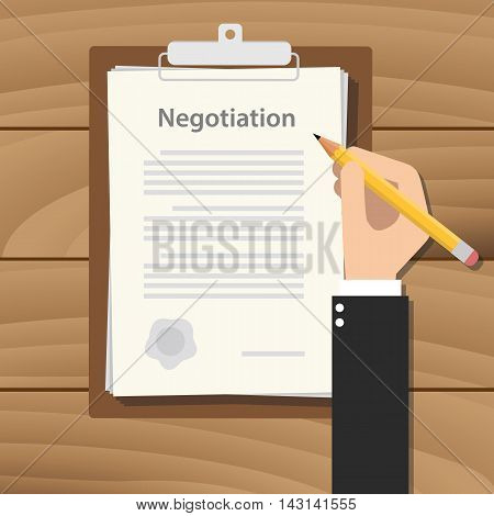 negotiation concept agreement with hand hold pencil signing paper document on clipboard on wood table