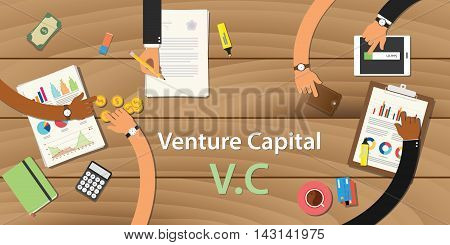 venture capital illustration with text and team work together on top of the wooden table