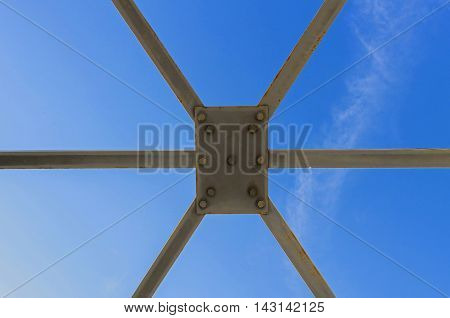 Metal structure, metal bridge, part of metal bridge construction, bridge, modern bridge frame closeup, pedestrian bridge