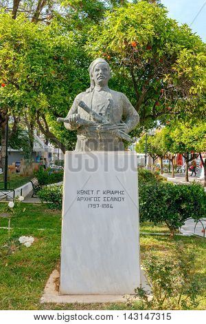 Heraklion, Greece - April 22, 2016: Monument to the Greek rebels for independence of Crete in the center of Chania. Crete. Greece.