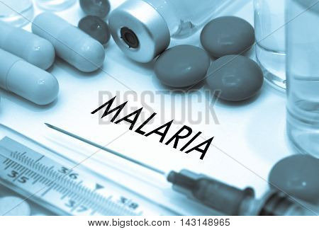Malaria. Treatment and prevention of disease. Syringe and vaccine. Medical concept. Selective focus