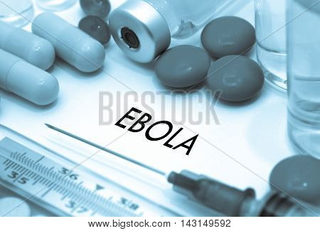 Ebola. Treatment and prevention of disease. Syringe and vaccine. Medical concept. Selective focus