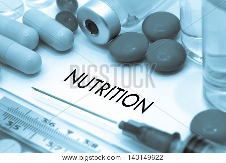 Nutrition. Treatment and prevention of disease. Syringe and vaccine. Medical concept. Selective focus