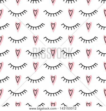 Abstract pattern with closed eyes and pink hearts. Cute eyelashes background illustration. Fashion design for textile, wallpaper, fabric etc.