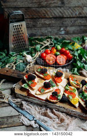 Dewberry Mini Tart On The Wooden Table. Delicious Homemade Tartl