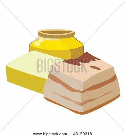 Refractory fats: margarine animal fat lard. For your convenience each significant element is in a separate layer. Eps 10