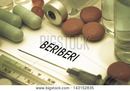 Beriberi. Treatment and prevention of disease. Syringe and vaccine. Medical concept. Selective focus