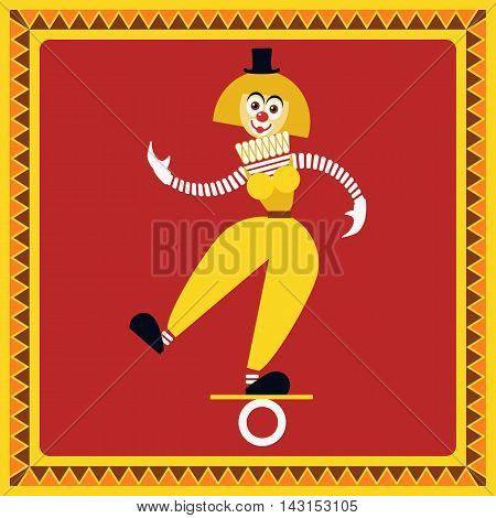 Funny female clown teetering on the coil. The equilibrist balances. Flat style. Vector illustration poster