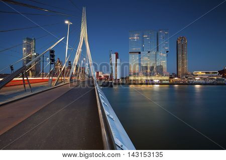 Rotterdam. Image of Rotterdam, Netherlands during twilight blue hour.