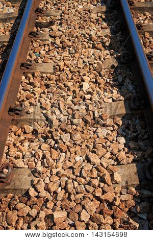 Railway or railroad tracks for train transportation vintage