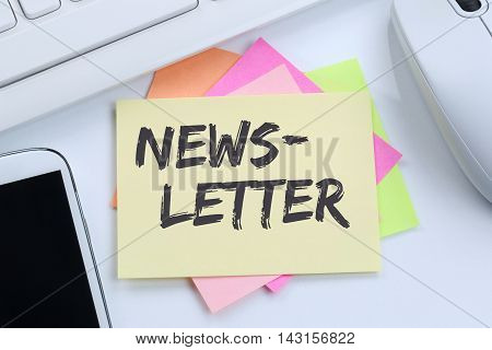 Newsletter Subscribing On Internet For Business Marketing Campaign Desk