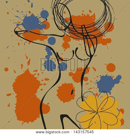 Art background with paint drops and nude woman silhouettes. Illustration in vector format