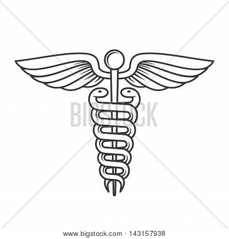 Medical Caduceus Sign. Line Style. Vector illustration