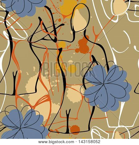 Art seamless pattern with paint drops and nude women silhouettes. Illustration in vector format
