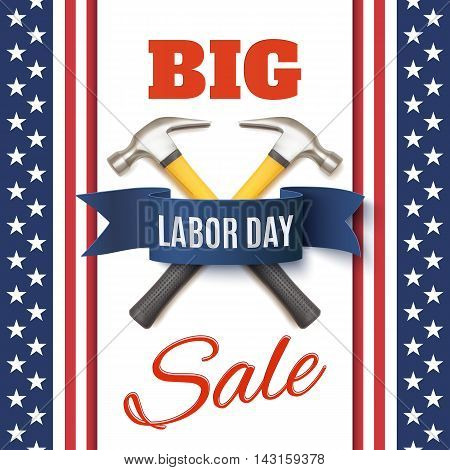 Labor Day sale background template. Badge with two hummers and blue ribbon, on top of abstract American flag. Vector illustration.