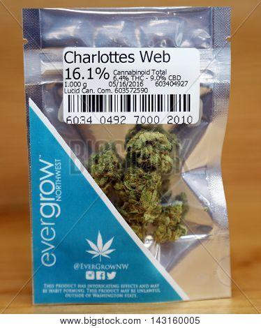 Spokane Washington - August 17: Legal in Washington State, Recreational Packaged Marijuana for sale in a Pot Shop. August 17 2016, Spokane Washington