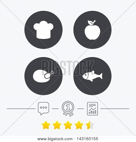 Food icons. Apple fruit with leaf symbol. Chicken hen bird meat sign. Fish and Chef hat icons. Chat, award medal and report linear icons. Star vote ranking. Vector