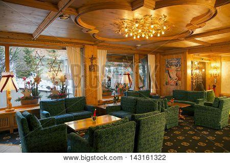 SWITZERLAND, SAAS-FEE, DECEMBER, 24, 2015 - Ferienart Resort & Spa hotel interior in Saas-Fee, Switzerland