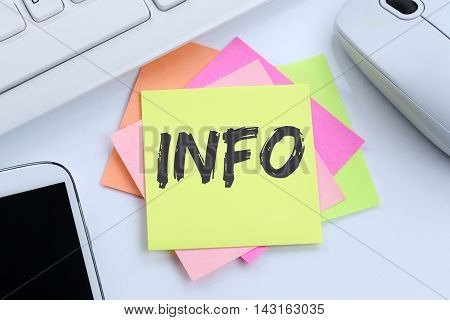 Info Information Message News Announcement Announce Office Desk