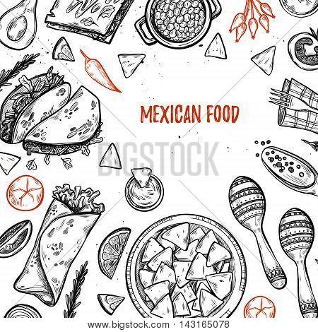 Hand Drawn Vector Illustrations - Mexican Food (tacos, Nachos, Burritos, Chili Pepper, Avocado, Sauc