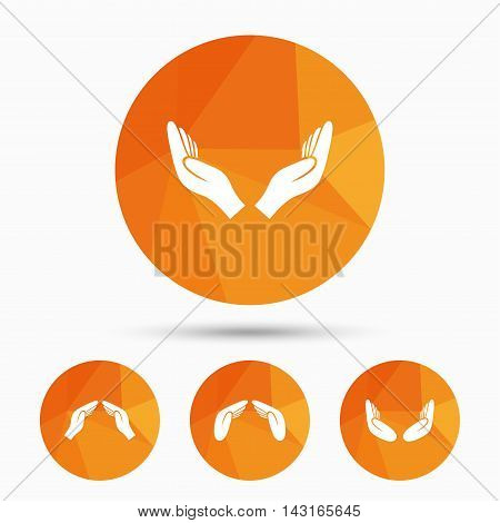 Hands icons. Insurance protection signs. Human helping donation hands. Prayer meditation hands sybmols. Triangular low poly buttons with shadow. Vector
