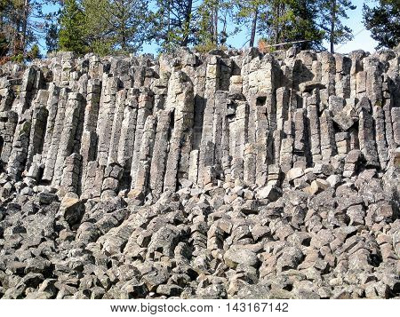 Columnar basalt at Sheepeater Cliff in Yellowstone National Park (Wyoming, USA)