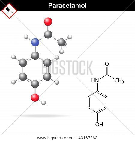 Paracetamol - molecular chemical formula and model 3d & 2d illustration on white background balls & sticks style vector eps 8