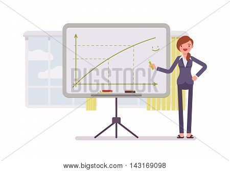 Woman in a formal wear drew a positive graph on the whiteboard. Cartoon vector flat-style concept illustration
