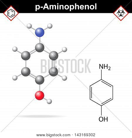 Para aminophenol chemical structure and model 2d and 3d vector illustration eps 8