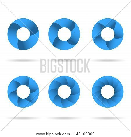 Circles segmented into parts set 2d vector icons isolated on white background eps 10