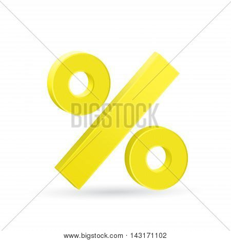 Percent sign, neutral rate, ecomomic stagnation concept, 3d vector illustration, eps 10