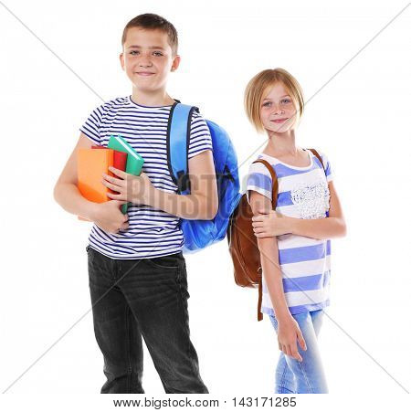 Cute schoolkids, isolated on white