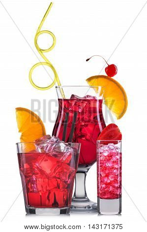 Set of red cocktails with decoration from fruits and colorful straw isolated on white background.