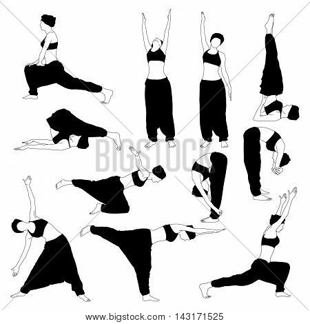 Set of yoga poses silhouettes. Girl in a turban and trousers doing different exercises.