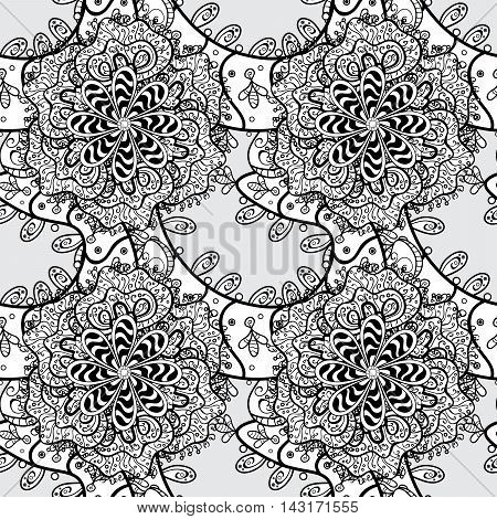 Henna paisley mendhi doodles design element on grey background.