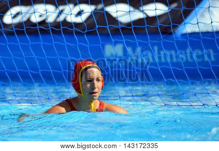 Budapest, Hungary - Jul 16, 2014. Spain's ESTER RAMOS Laura (ESP, 1)T goalkeeper. he Waterpolo European Championship was held in Alfred Hajos Swimming Centre in 2014.