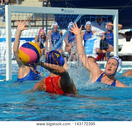 Budapest, Hungary - Jul 16, 2014. Russia against Spain. 10-9. The Waterpolo European Championship was held in Alfred Hajos Swimming Centre in 2014.