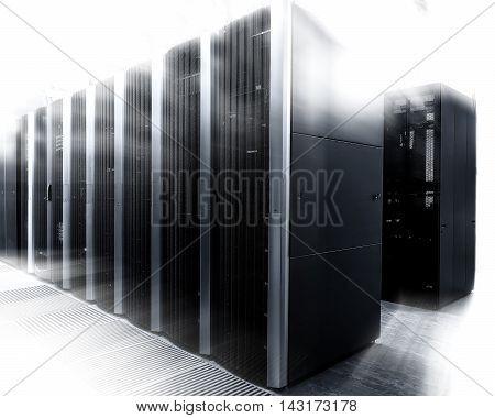 An interior shot of a computer data center