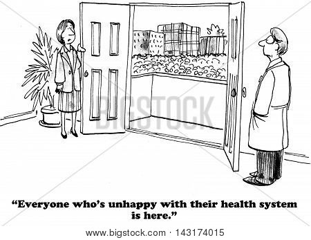 Medical cartoon showing a very large crowd of people, they are all dissatisfied with their health insurance program.