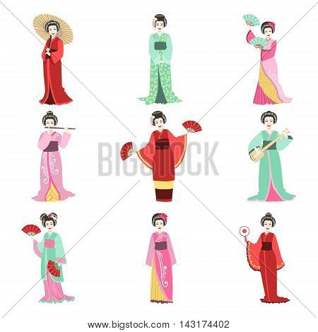 Japanese Geisha In Different Kimono Performing Set Of Flat Simple Realistic Characters On White Background With Traditional Culture Symbols